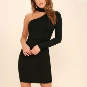 Lulu's One Sleeve Choker Bodycon Dress